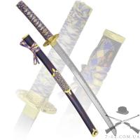 Катана, рукоятка желтая плетенная, ножны синие, латунь | 147474