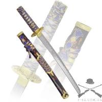 Вакидзаси, рукоятка желтая плетенная, ножны синие, латунь