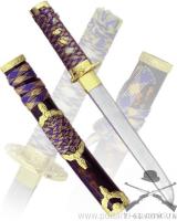 Танто, рукоять желтая плетеная, ножны синие, латунь