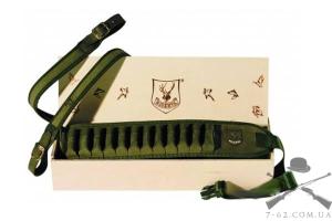набор R2003 патронташ 26 отд к12 + ремень узкий зеленый