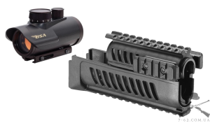 Прицел коллиматорный BSA Optics Red Dot RD30 (б/у) + Полимерная система из 4-х планок для АК-47/74 AK-L Fab Defense (б/у)
