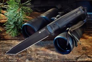 Нож туристический Aggressor Черный AUS-8 черные ножны, Kizlyar Supreme
