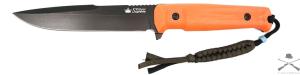 Нож туристический Delta Черный AUS8, оранжевая рукоять, черные ножны, Kizlyar Supreme