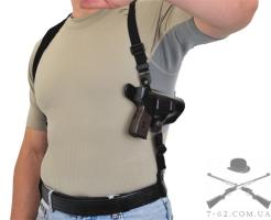 Кобура кожаная плечевая/поясная со скобой с синтетическим креплением