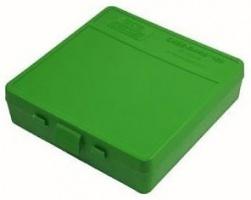 Кейс MTM для патронов калибра 9mm Luger, 380 ACP, 9mm Makarov, цвет зеленый, на 100 штук