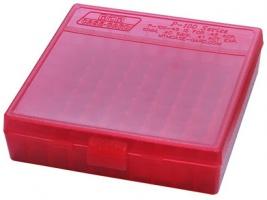 Кейс MTM для патронов калибра 9mm Luger, 380 ACP, 9mm Makarov, цвет красный, на 100 штук